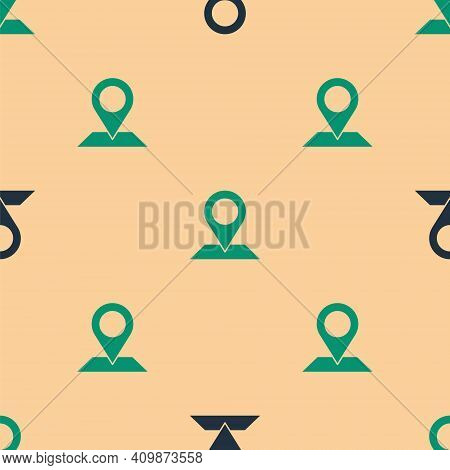 Green And Black Map Pin Icon Isolated Seamless Pattern On Beige Background. Navigation, Pointer, Loc