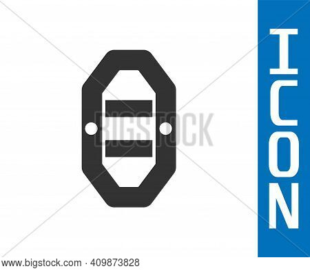 Grey Rafting Boat Icon Isolated On White Background. Inflatable Boat With Paddles. Water Sports, Ext