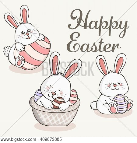 Greeting Card With With White Easter Rabbit. Cute Easter Rabbit With Ears And Lettering Happy Easter