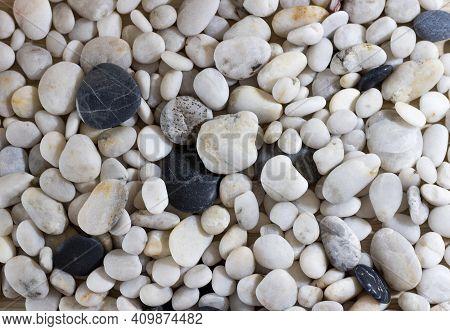 Background Of Sea Pebbles Close-up. Sea Pebble Texture