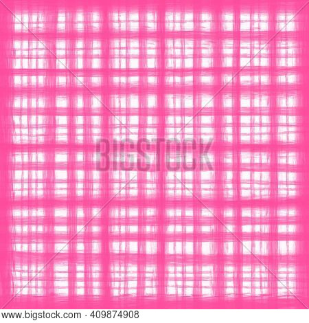 Pink White Vintage Checkered Background With Blur, Gradient And Texture Grunge. Classic Checkered Ge