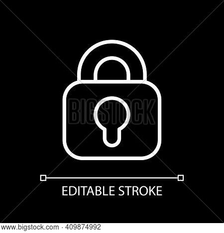 Lock White Linear Icon For Dark Theme. Encryption For Cybersecurity. System Safety. Thin Line Custom