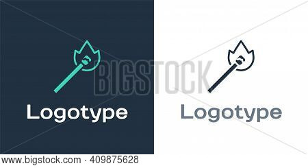 Logotype Burning Match With Fire Icon Isolated On White Background. Match With Fire. Matches Sign. L
