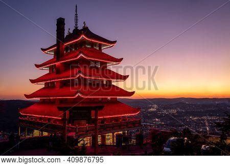 Reading Pagoda At Night