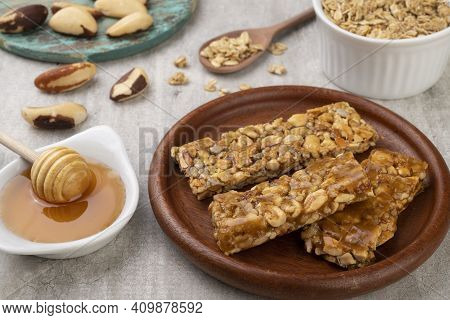 Homemade Cereal Bars With Nuts, Muesli And Honey.