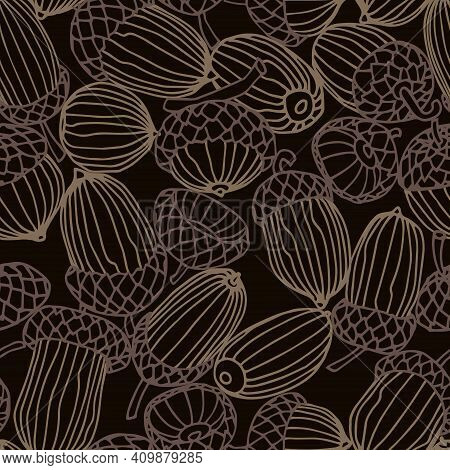 Abstract Seamless Pattern Of A Set Of Oak Acorns, For Backdrops Designs, Textiles, Fabrics, Vector I