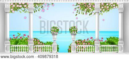Spring Mediterranean Balustrade, Vector Roman Balcony, Marble Pillars, Vases, Blooming Bushes, Sea.