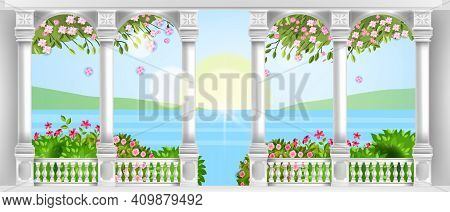 Vector Palace Balustrade, Ancient Roman Marble Balcony With Arches, Pillars, Handrail, Blossom, Rose