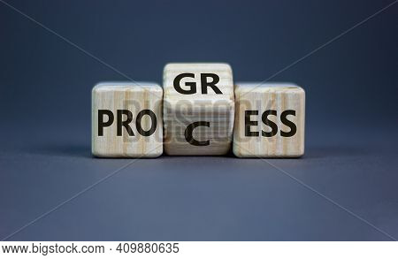 Process And Progress Symbol. Turned A Wooden Cube And Changed The Word 'process' To 'progress'. Beau
