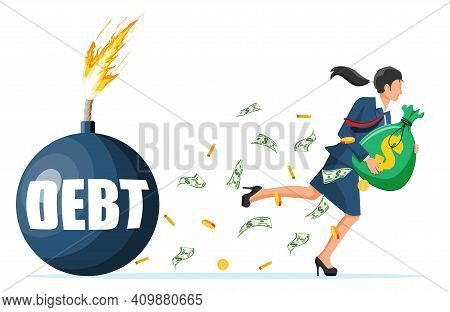 Businesswoman With Big Heavy Sack Full Of Cash Run Away From Debt Bomb. Business Woman Corporate Sla