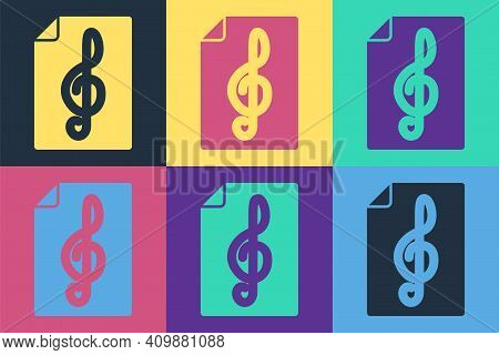 Pop Art Treble Clef Icon Isolated On Color Background. Vector