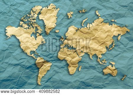 World Map In Relief On Recylcled Paper A Composite Concept Of Global Ecology And The Importance Of R