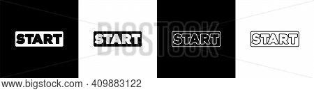 Set Ribbon In Finishing Line Icon Isolated On Black And White Background. Symbol Of Finish Line. Spo