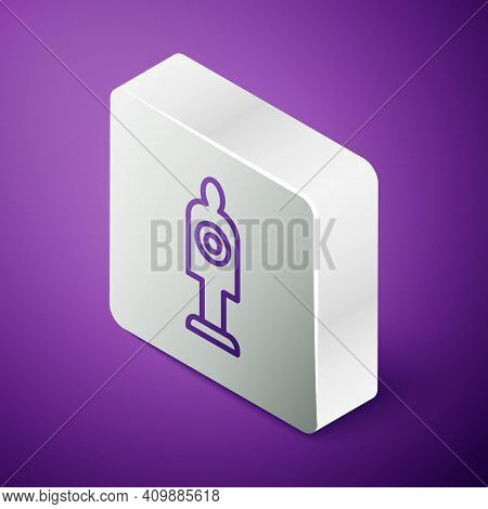 Isometric Line Human Target Sport For Shooting Icon Isolated On Purple Background. Clean Target With