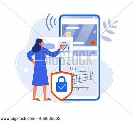Lady Pay For Purchase Use Credit Card In Smartphone. Woman Buy Online Purchase, Modern Technology We