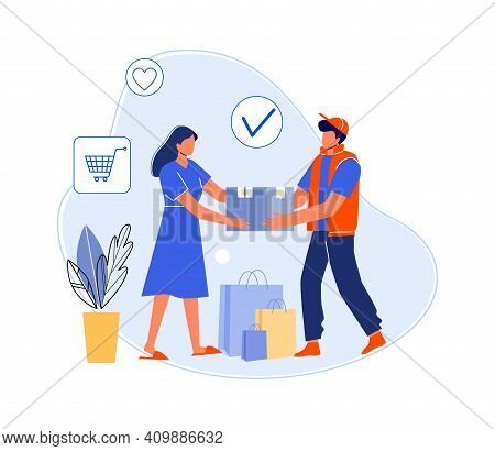 Courier Delivered Parcel Home Customer. Vector Shipping And Delivery Package Service, Box Deliver Fr
