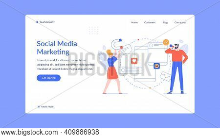 Social Media Marketing People Promotion And Influence. Vector Marketing Promotion Online, Business S
