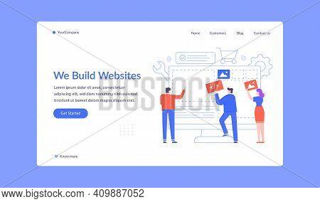 Team Build Website, Create Landing Web Page. Vector Developer Team Construction Responsive Website,