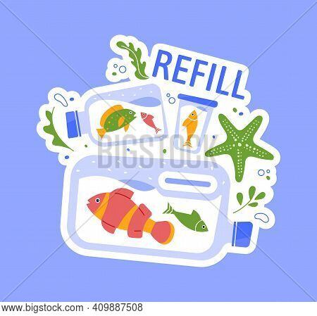 Save Sea Fauna And Flora From Plastic. Vector No Plastic In Ocean, Keep Ecology Fauna Sea, Problem W
