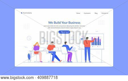 Build Business Learn Presentation Chart And Graphic Landing Page. Vector Business Presentation, Info