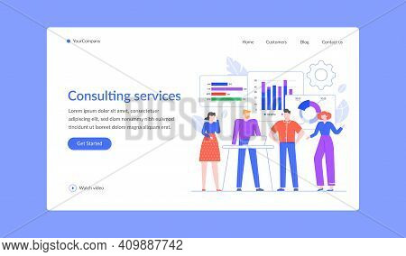 Consulting Service For Business, Professional Team Landing Page. Vector Business Team Service Consul