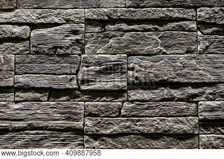 Black Stone Slate Texture Background, Slate Stone Wall. Decorative Tiles For Wall Decoration. Black
