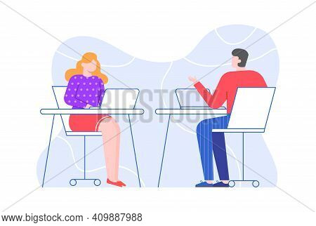 Colleagues At Workplace, Man And Woman In Office. Vector Office Communication Colleague, Business Pe