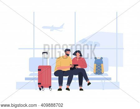 People Wait Boarding In Airport Terminal Hall. Airport Hall To Boarding Terminal, Travel Vacation An