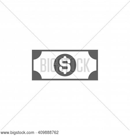 Black Bank Note With Dollar Sign. Flat Icon Isolated On White. Money Pictogram. Dollar And Cash, Coi