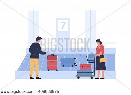Luggage Belt At Airport, People Pick Up Luggage. Vector Airport And Baggage To Passenger, Illustrati