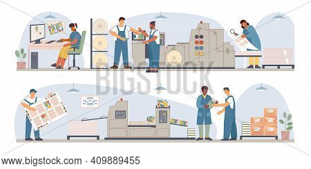 Print Book Publishing House Flat Composition Set With Steps To Prepare And Print Newspapers In The P
