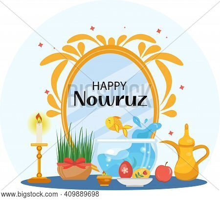 Happy Nowruz Day Greeting Card, Template For Your Design. New Year In Iran. Vector Illustration, Cli