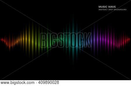 .rainbow Sound Wave. Multicolor Sonic Dynamic Waveform On Dark Background. Abstract Electronic Music