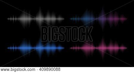 Sound Waves. Music Frequency, Abstract Electronic Soundtrack. Metal, Red And Blue Waveform Energy Ve