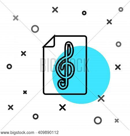 Black Line Treble Clef Icon Isolated On White Background. Random Dynamic Shapes. Vector