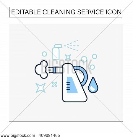 Steam Cleaning Line Icon. Cleaning Method. Steaming Process. Cleanup Flooring And Household Dirt Rem