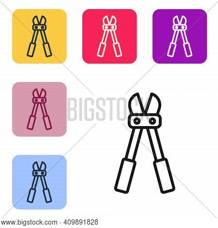 Black Line Bolt Cutter Icon Isolated On White Background. Scissors For Reinforcement Bars Tool. Set