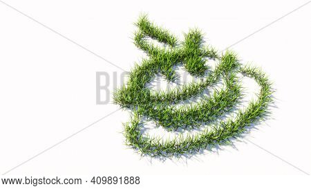 Concept or conceptual green summer lawn grass symbol shape isolated on white background, signof a hot cup of tea. A 3d illustration metaphor for traditional medicine, relaxation, health and diet
