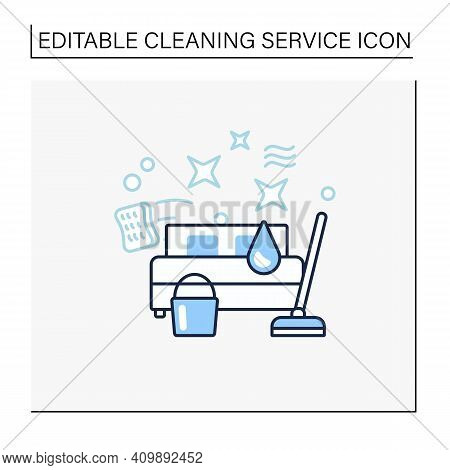 Bedroom Cleaning Line Icon. Home Cleanup. Bed Dry Cleanup. Mopping, Wiping, Dusting. Cleaning Servic