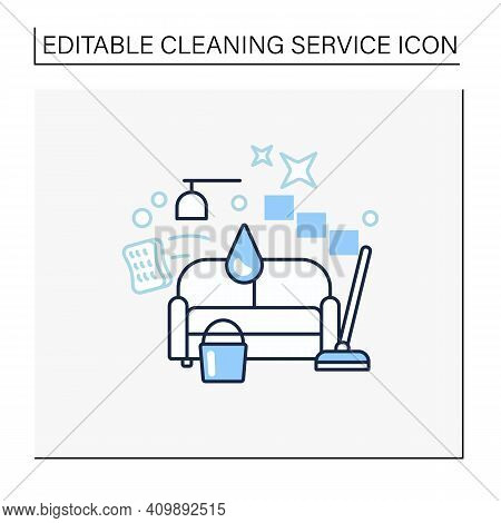 Living Room Cleaning Line Icon. Home Cleanup. Sofa Dry. Clutter Cleanup. Mopping, Wiping, Dusting. C