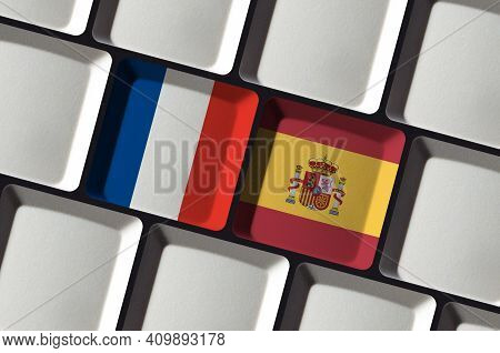 Keyboard With French France And Spanish Spain Flag Language Learning Translation