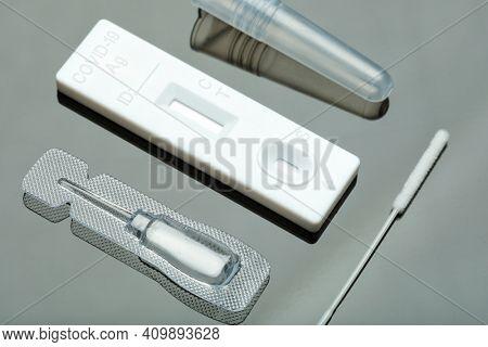 Closeup of sars-cov-2 rapid antigen test kit