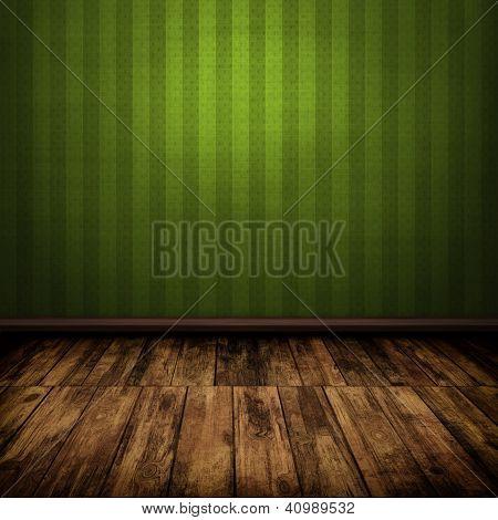 Dark Vintage Green Room Interior With Wooden Floor