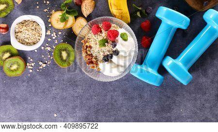 healthy breakfast- granola,  yogurt and berry fruit