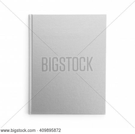 Closed Book With Grey Hard Cover Isolated On White, Top View