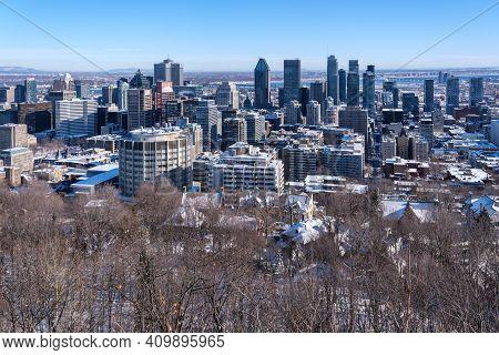 Montreal, Ca - 4 February 2021: Montreal Skyline From Kondiaronk Belvedere
