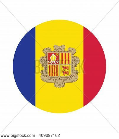 National Andorra Flag, Official Colors And Proportion Correctly. National Andorra Flag