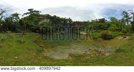 Beautiful Waterfall In Green Forest. Tropical Kilab Kilab Falls In Mountain Jungle. Bohol, Philippin