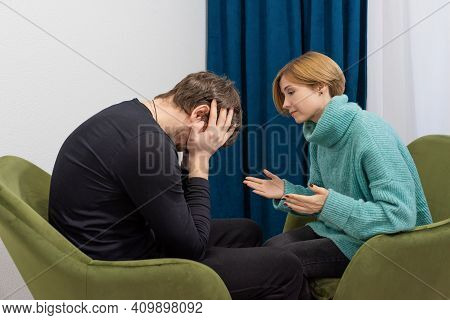 A Man With His Problems At A Psychologists Office. The Patient Is Consulted With A Psychologist. Psy