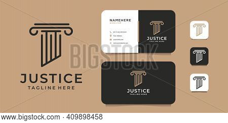 Justice Law Firm Logo And Business Card Vector Template. Logo Can Be Used For Icon, Brand, Identity,